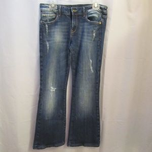 VIGOSS Distressed Flare Leg Denim Jeans
